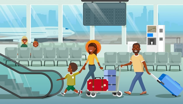 Family carrying baggage in airport cartoon vector Premium Vector