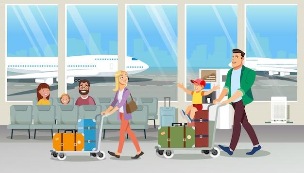 Family carrying baggage in airport cartoon vector Premium Vector