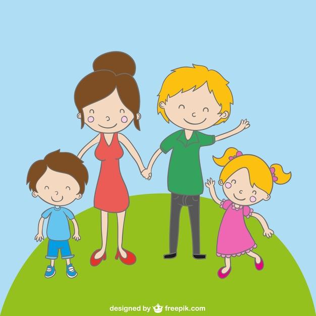 family cartoon drawing free vector