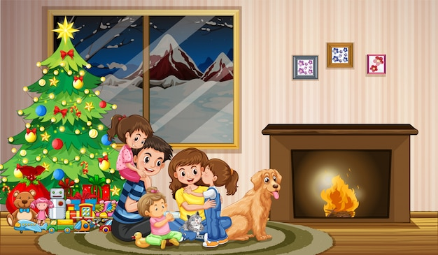 A family celebrating christmas Premium Vector