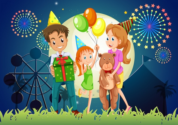 A family celebrating outdoor near the carnival Free Vector