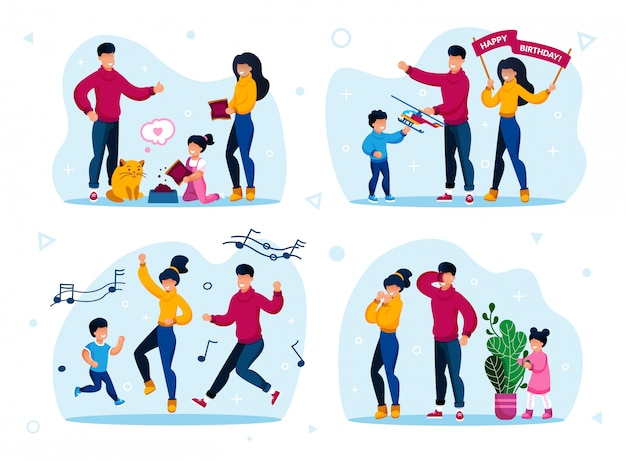 Family celebrations and entertainments set Premium Vector