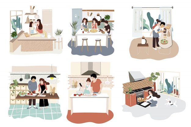 Family character design in kitchen with activity on cooking Premium Vector