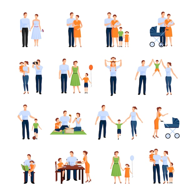 Family character set with parents and children Premium Vector