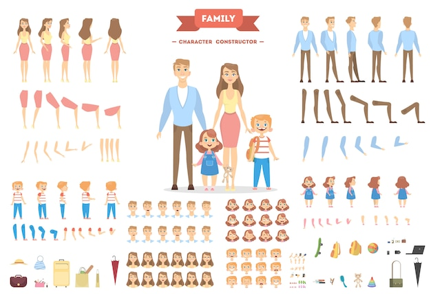 Family characters set. parents and children with objects. Premium Vector