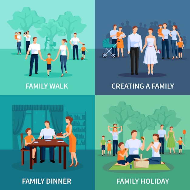 Family characters set with family dinner and holiday flat isolated vector illustration Premium Vector