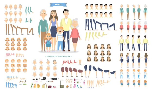 Family characters set with poses and emotions. Premium Vector