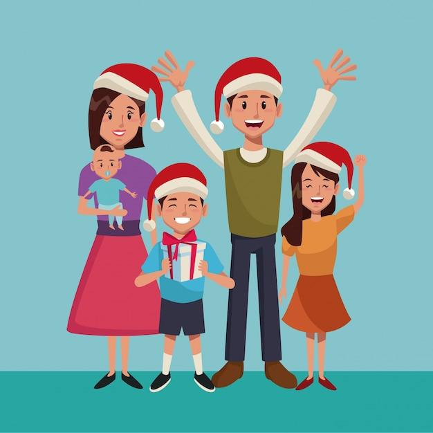 Family christmas cartoon Premium Vector