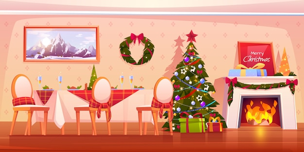 Family christmas dinner scene with fireplace illustration Free Vector