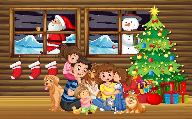 Family christmas in living room with tree Premium Vector