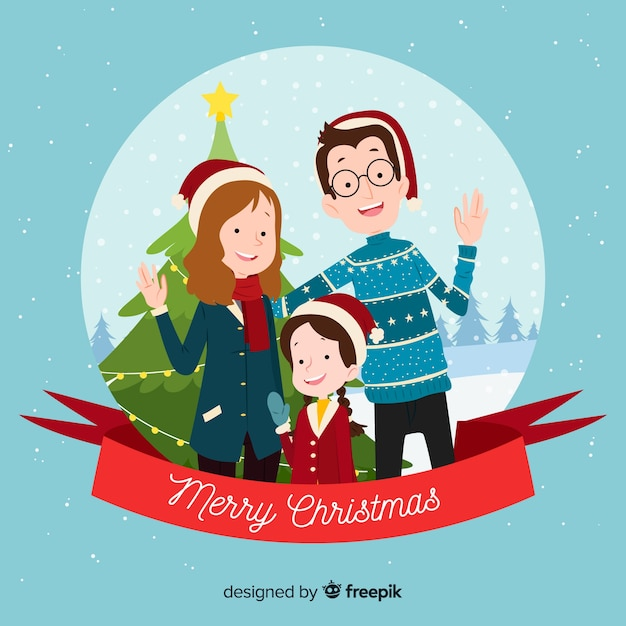 Family Christmas Portrait Background Vector Free Download