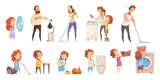 Family cleaning cartoon icons set Free Vector