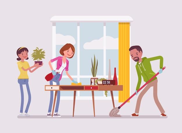 Семья убирает дом Premium векторы