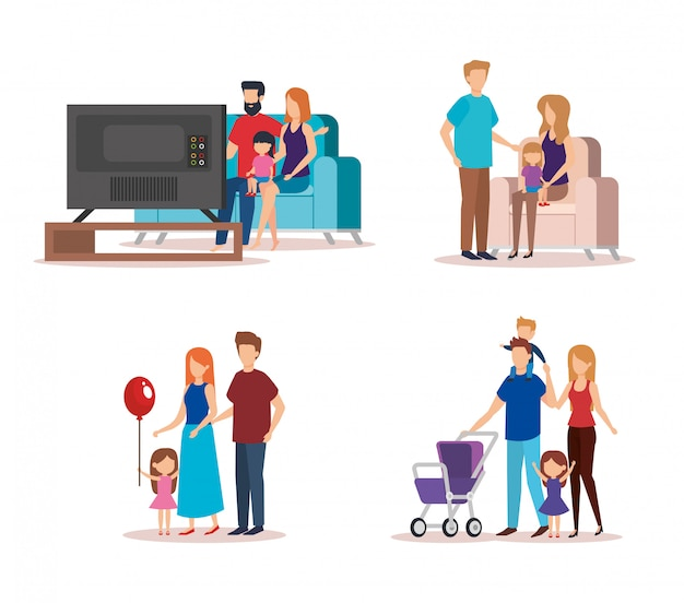 Family collection doing activities Free Vector
