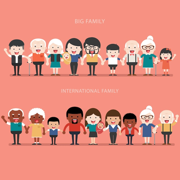 Family concept. big happy family and international family. parents with children. father, mother, children, grandfather, grandmother, siblings, wife, husband, uncle, aunt Premium Vector