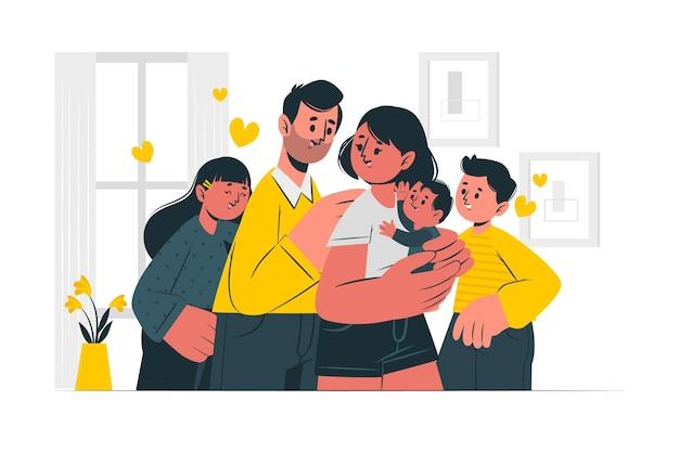 Illustrazione di concetto di famiglia Vettore gratuito