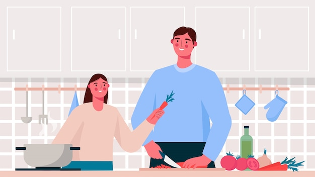 Family cooking in the kitchen in flat design Premium Vector