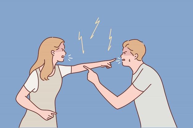 家族、夫婦、喧嘩、離婚、侵略、紛争の概念 Premiumベクター