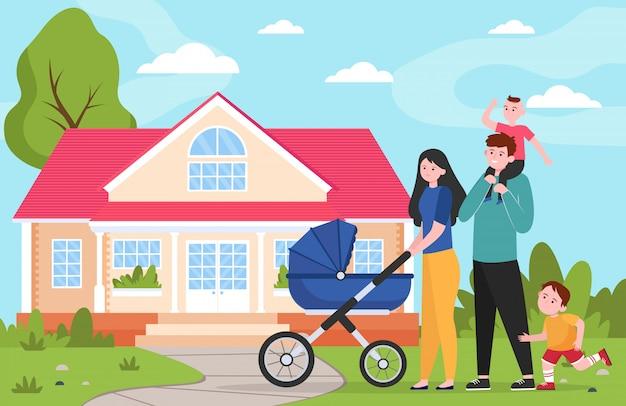 子供と郊外の家に歩いてベビーカーと家族カップル 無料ベクター