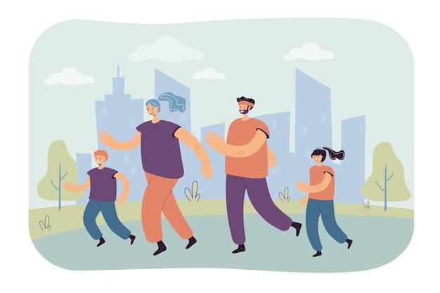 都市公園でジョギングしている子供と家族のカップル。マラソンのトレーニングをしている親子。漫画イラスト 無料ベクター