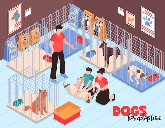 Family couple with son during communication with joyful dog in animal shelter isometric vector illustration Free Vector