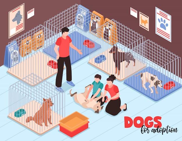 動物シェルター等尺性ベクトル図でうれしそうな犬との通信中に息子と家族カップル 無料ベクター