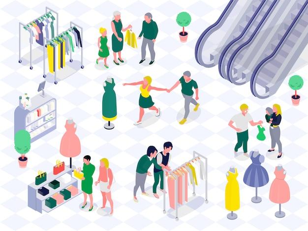 モール水平等尺性ベクトル図の服や化粧品部門で買い物中に子供と家族カップル 無料ベクター