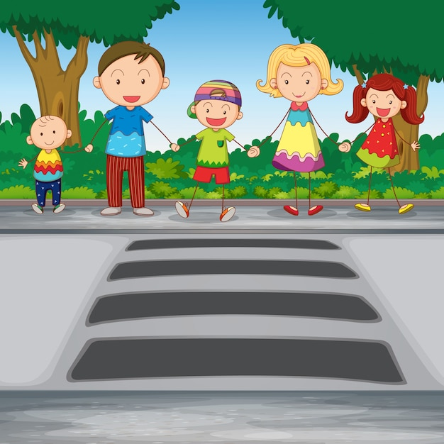 Family crossing road Free Vector