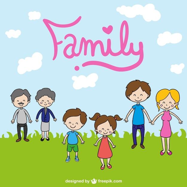 family cute cartoon drawing free vector