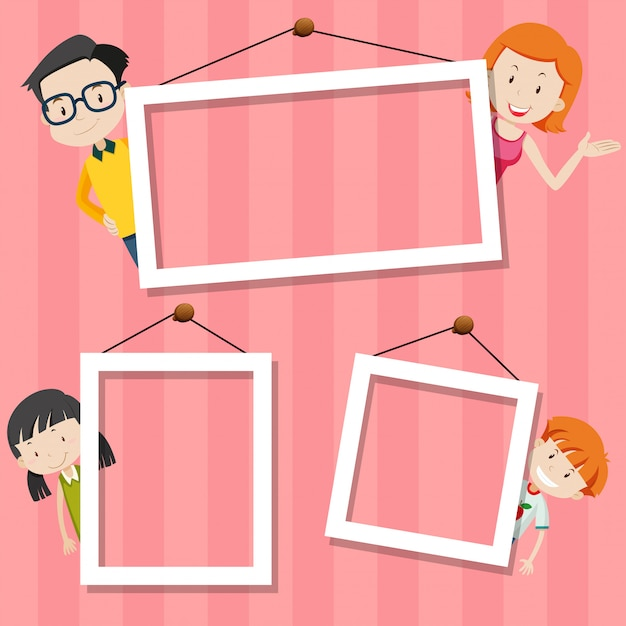 Family on cute frame Free Vector