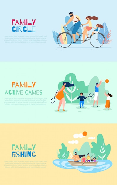Family cycle active games family fishing vector Premium Vector