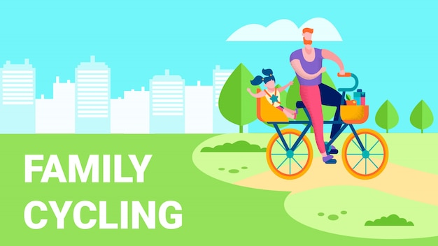 Family cycling outdoor recreation flat text illustration Premium Vector
