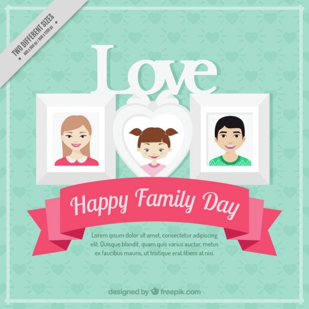 Family day background with photo frames