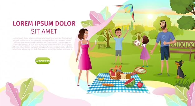 Family day cartoon vector landing page template Premium Vector