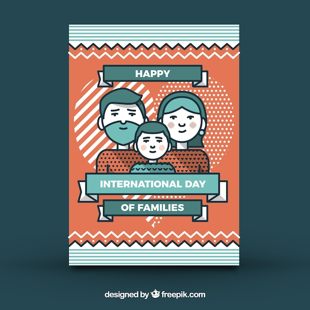 Family day greeting card with geometric\ forms
