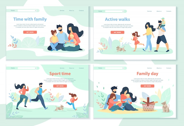 Family day, leisure, sport time, active walks Premium Vector