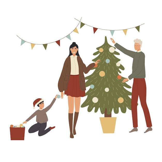 新年のクリスマスツリーを飾る家族 Premiumベクター