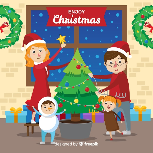 Free Vector Family Decorating Christmas Tree Background