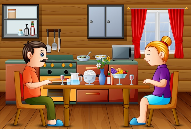 Family dinner on the kitchen table with mom dad Premium Vector