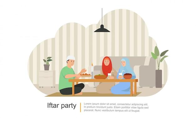 ラマダンカリームでの家族の夕食またはイードムバラクを祝う Premiumベクター