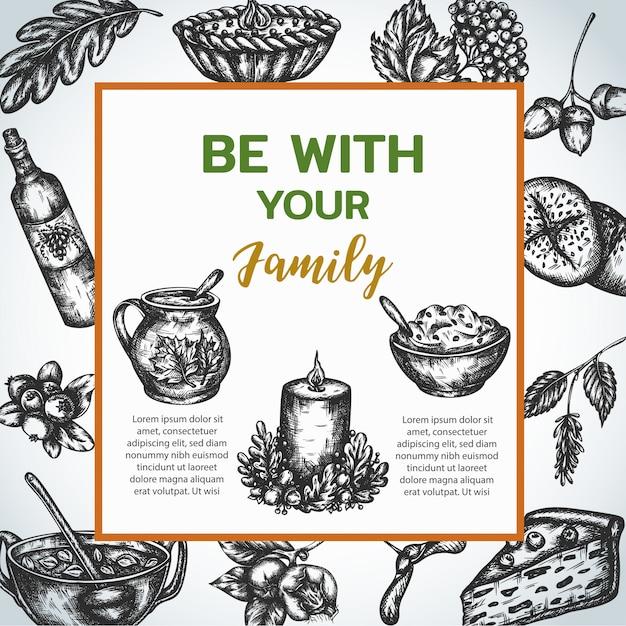 빈티지 스타일의 가족 저녁 식사 포스터 프리미엄 벡터