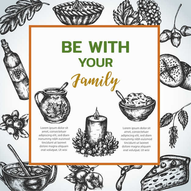 Family dinner poster in vintage style Premium Vector