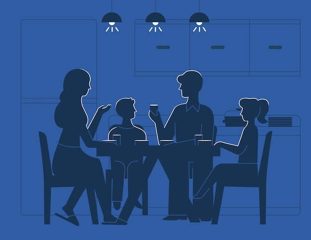 Family at dinner table illustration Free Vector