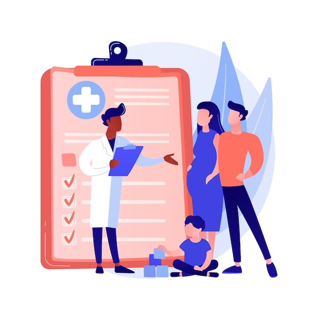 Family doctor abstract concept vector illustration. visit your doctor, medical family practice, primary healthcare provider, general practitioner, physician service, insurance abstract metaphor. Free Vector