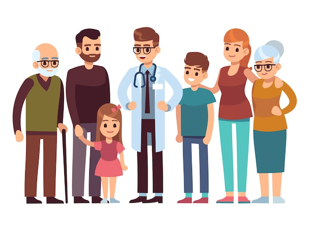 Family doctor. big happy health family with therapist, patients parents kids healthcare professional service, flat vector design Premium Vector