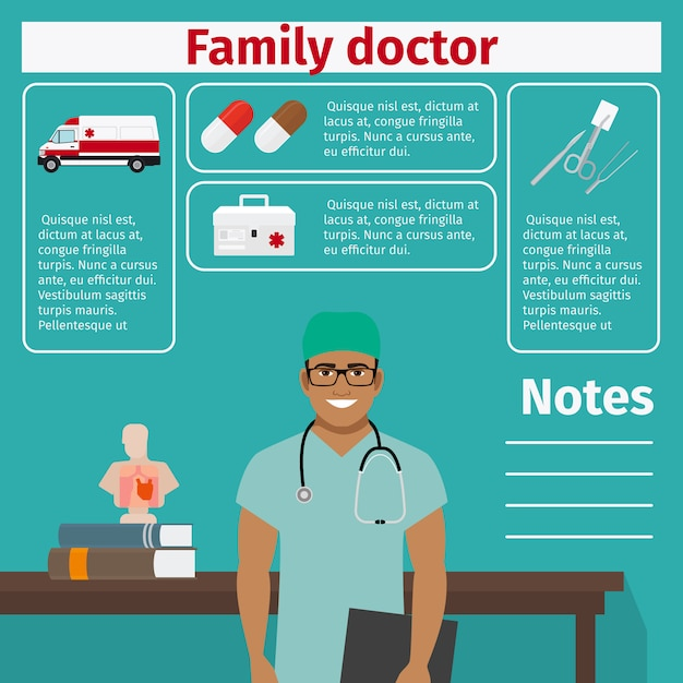 Family doctor and medical equipment template Premium Vector