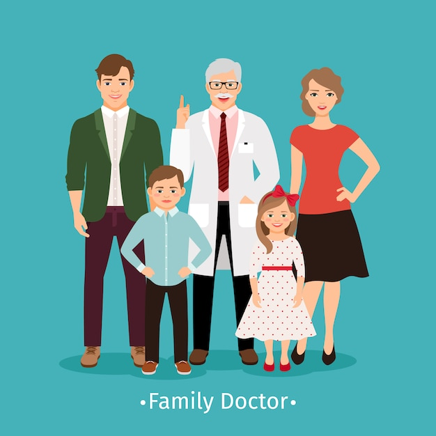 Family doctor vector illustration. young happy patients and smiling practitioner portrait medicine concept Premium Vector
