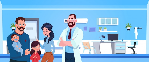 Family doctor with happy parents and kids over pediatrician hospital room Premium Vector