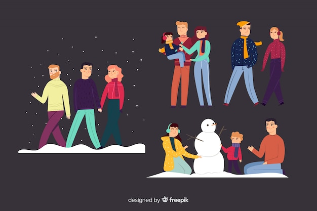 Family doing actions Free Vector