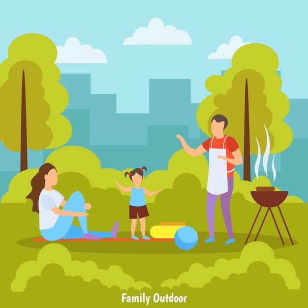 Famiglia che fa un barbecue al parco Vettore gratuito